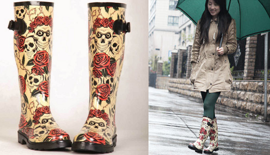 fashion-rose-skull-rain-boots-rainboots-water-shoes