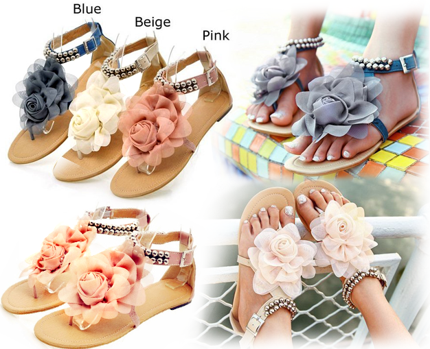 Beading-women-beach-shoes-flat-sandals-with-Big-Flower