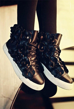black-Canvas-beautiful-flower-shoes-china